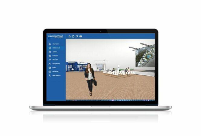 laptop showing CDU virtual event hall