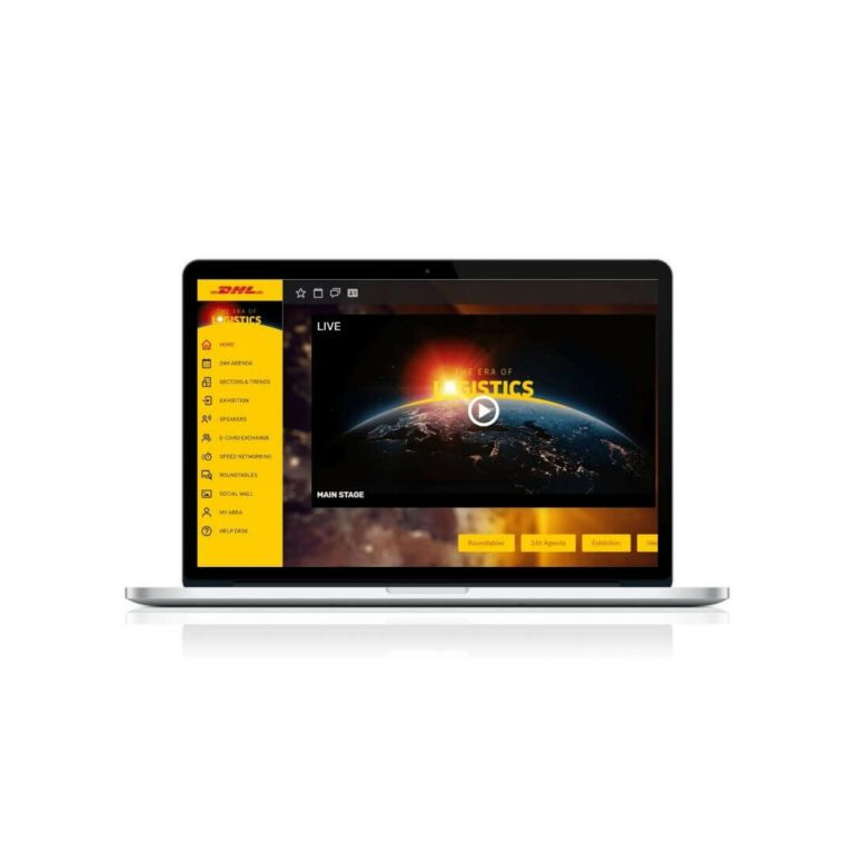 laptop showing DHL logistics virtual summit