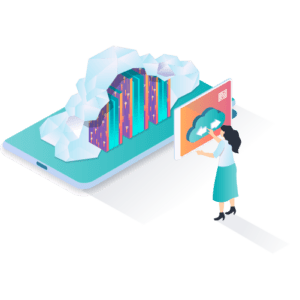 a person using cloud technology