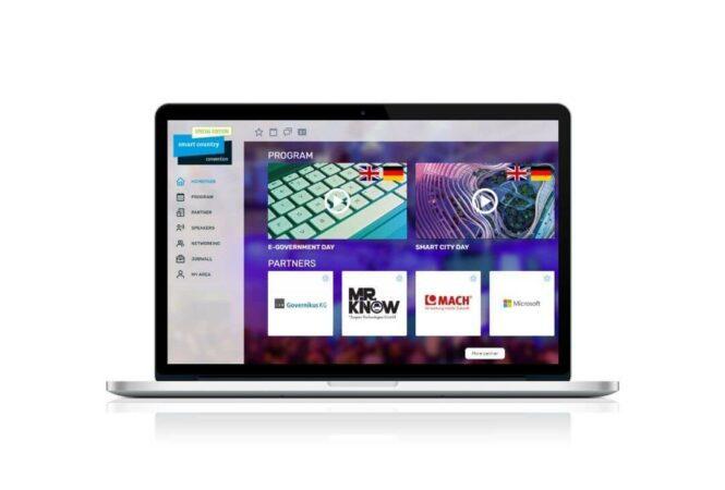 laptop showing SCCON digital conference platform