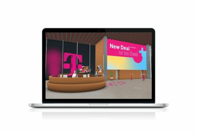 laptop showing Telekom TMTM virtual event