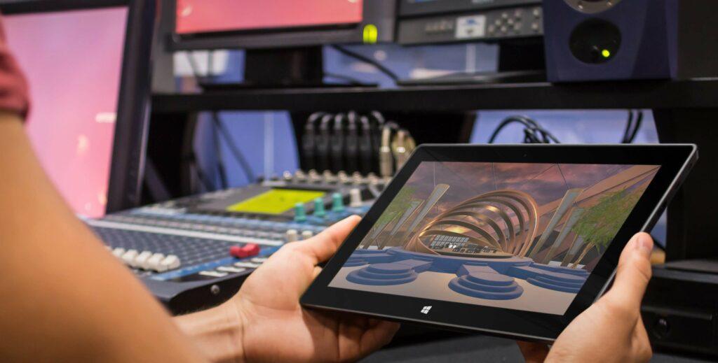 tablet showing a digital concert stage