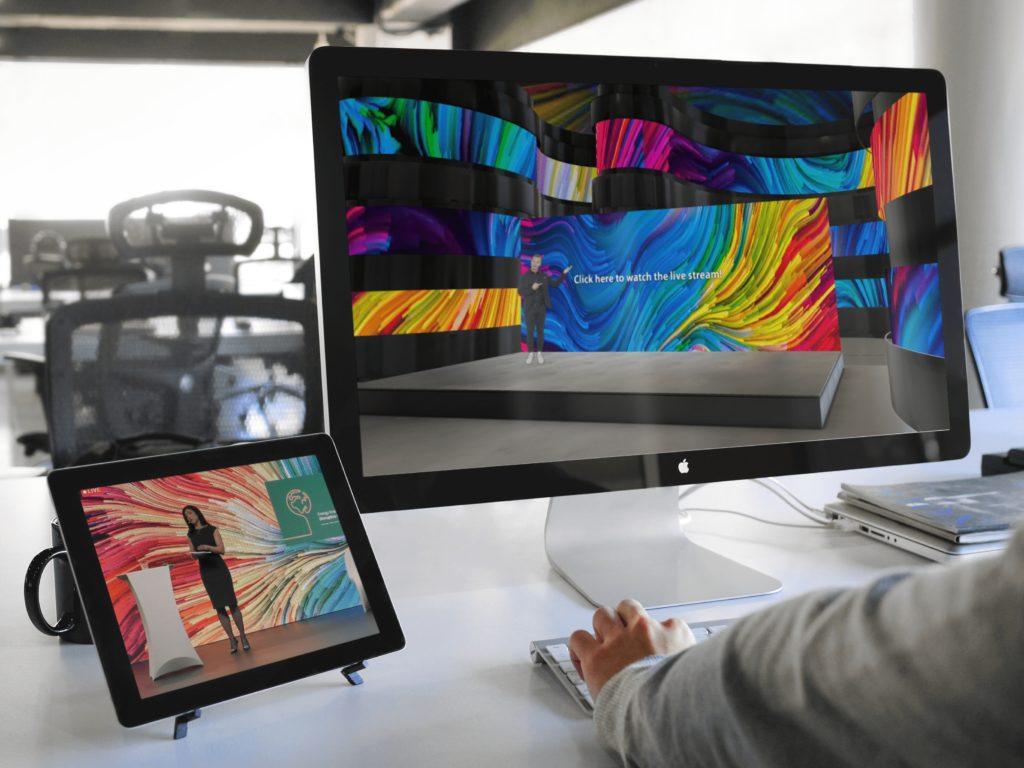 EventCloud platform hybrid conference on tablet and desktop