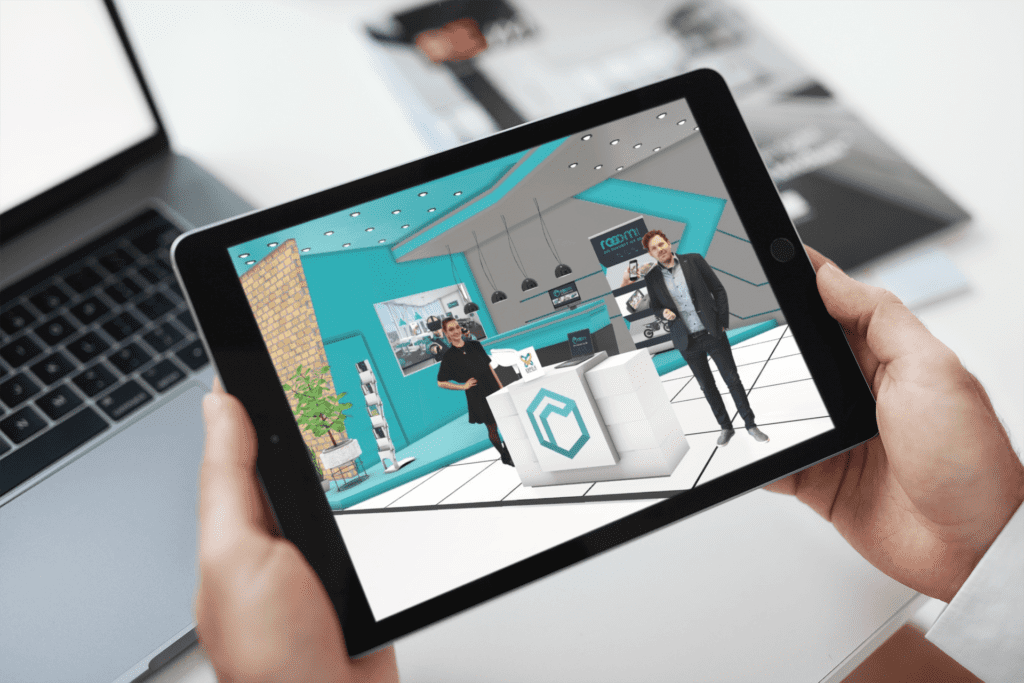 ipad showing virtual exhibition booth